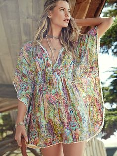 Breezy by the beach. | Victoria's Secret Plunge-Front Caftan