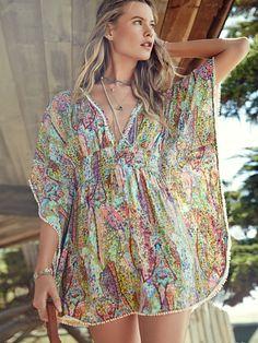 Breezy by the beach. | Victoria's Secret Plunge-Front Caftan