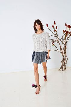 Ulla Johnson Pre Spring 2016 Collection - Rouen Pullover with Remy Skirt and Reina Heel