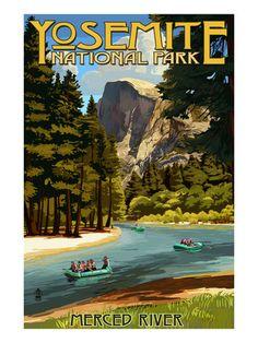Merced River Rafting - Yosemite National Park, California Art Print at AllPosters.com