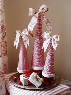 red and white ribbon Christmas trees
