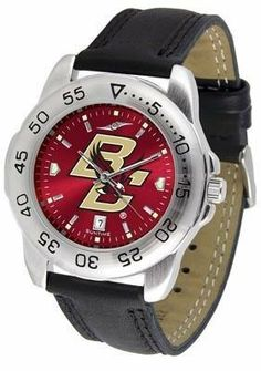 Boston College BC Men's Leather Band Sports Watch by SunTime. $55.95. AnoChrome Dial Enhances Team Logo And Overall Look. Men. Officially Licensed Boston College Eagles Men's Leather Band Sports Watch. Leather Band. Adjustable Band. Boston College Eagles men's sports watch. This Eagles watch comes with a genuine leather strap. A date calendar function plus a rotating bezel/timer circles the scratch-resistant crystal. The scratch resistant face protects the watch from the harde...