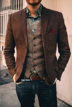 Classic tweed blazer and jeans combo with the added waistcoat. Great mens look. 2017