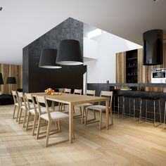 Amazing Minimalist Kitchen In Dark Grey From Toyo :  With Wooden Dining Table And Modern La...