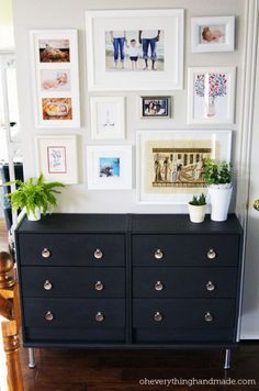 Ikea Rast makeover - 2x $35 dressers, painted navy with new hardware = perfect and affordable entry/hallway landing pad.