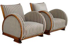 One Kings Lane - French 50s 60s - 1930s Art Deco Club Chairs, Pair