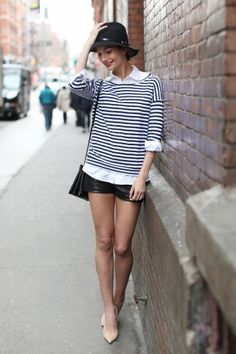 Leather shorts, nautical stripes and hat. Loving everything about this look.