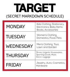 Knowing this awesome little secret is a great way to save money and grab some amazing deals @ Target http://www.momdeals.com/mom-hacks/target-markdown-schedule-2135