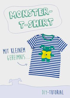 Nähe ein cooles Kindershirt mit einer süßen Monster-Applikation ganz einfach selber - Mit Anleitung und kostenloser Vorlage