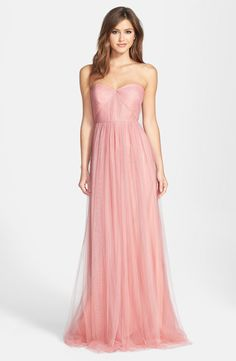 """Jenny Yoo 'Annabelle' Convertible Tulle Column Dress: Color """"Begonia Pink"""""""