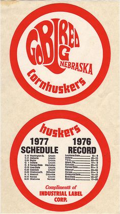 Go Big Red Nebraska Cornhuskers Helmet Logo Sticker - 1977