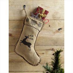 "Prancer Holiday Christmas Stocking 11x15"" VHC Brands"