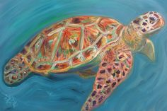 Colorful sea turtle painting by Ann Lutz