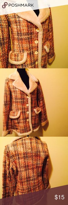 "Vintage Peacoat Medium, but fits more like a large Cozy brown/orange/yellow peacoat 2 front pockets, about 31"" in length Both outer shell/lining made from 100% polyester  ✘ SORRY, NO TRADES ✾ REASONABLE OFFERS WELCOME! Jackets & Coats Pea Coats"