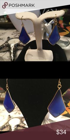 Colbalt Blue Triangle gold Earrings Holiday 🎁 Stunning  18kt gold  vermeil earrings. Kick it up a knotch with Colbalt blue Agate. Calming energy and more while wearing these. Smoke free home-no Trades. We also have them in onyx , blue howlite, and Rose Qtz is coming soon. Boutique Jewelry Earrings