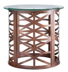 This HGTV HOME Furniture Collection round copper accent table added a great touch as well!