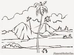 Gambar Untuk Diwarnai Pemandangan Hutan Sungai Pemandangan