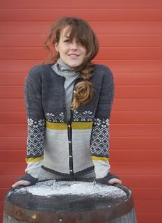 """""""Erika Cardigan,"""" by Michele Rose Orne, knit in Swans Island All American Sport."""