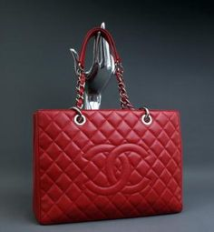 Love. Chanel Red Caviar Grand Shopping Tote GST Bag