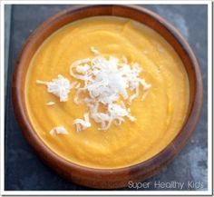 Kid-pleasing Sweet Coconut-Butternut Crockpot Soup -- love those recipes where the crockpot does the work. Just use coconut milk and coconut oil (instead of butter).