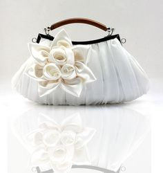 WHITE Bridal Clutch-Elegant, Eye Catching Luxurious Handle Rose Bag Clutch- Evening Purse For Women Bridal Clutch Bag, Clutch Bags, Bridal Handbags, Clutches For Women, White Purses, Aliexpress, Purses And Handbags, Handbags 2014, Hobo Purses