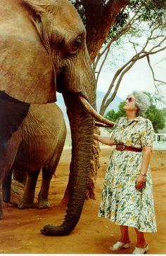 Photo of Daphne Sheldrick and Eleanor the elephant