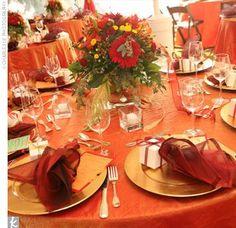Idées d'éléments pour mon mariage rouge, orange-safran et blanc