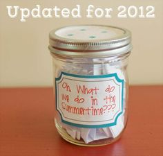 Summer Jar List--slips of paper with activities and many ideas with links to how-to-do it. Great for elementary-age kids!