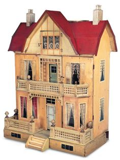 Large German Wooden Doll House with Deluxe Elevator by Moritz Gottschalk