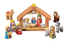Fun Exprress Mini Christmas Nativity Set Stable with Jesus Mary Joseph Wisemen - 9 Pieces *** Additional info @…