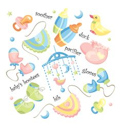 Set of baby clothing vector