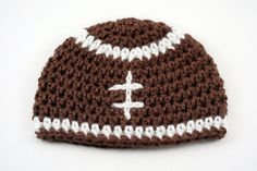 Crochet Baby Football Hat // Newborn Football Beanie // Photography Prop by lauraanncrochet