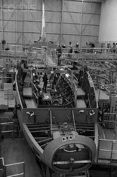 Space shuttle being built.