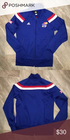 ADIDAS Kansas Jayhawks warm up jacket Kansas Jayhawks ADIDAS warm up jacket Polyester zip up excellent condition. (Belonged to #10-stamped inside collar which is not visible when worn) fits like a ladies small. adidas Tops Sweatshirts & Hoodies