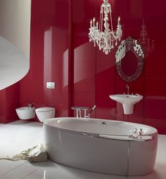 Various Catchy Decorating Ideas For Bathrooms sexy red bathroom – Decozilla