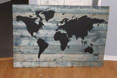 repurposed pallet wood travel world map by RetroRepurposedVic