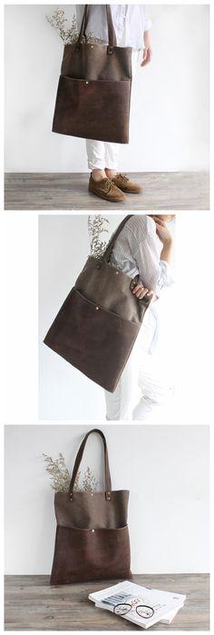 Handmade Waxed Canvas and Leather Tote Bag Women's Handbag Casual Satchel 16006