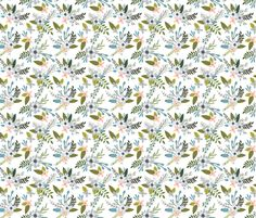 sprigs and blooms // silver fabric by ivieclothco on Spoonflower - custom fabric