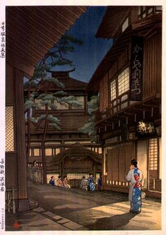 Shibu Hot Springs, Nagano  by Ishiwata Koitsu, 1940  (published by Kato Junji) Japanese Artwork, Japanese Prints, Guerrero Samurai, Hiroshi Yoshida, Japanese Woodcut, Art Chinois, Japanese Illustration, Nagano, Japan Painting