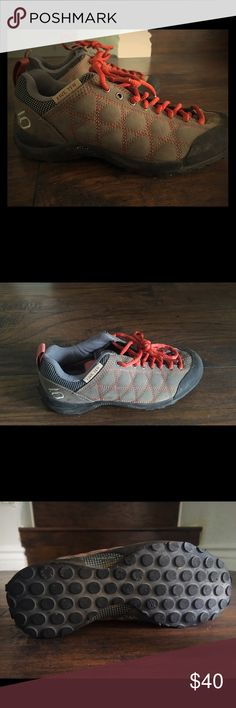 """Like new pair of women's 5.10 approach shoes Like new! The traction is in perfect condition! I got these as a gift and they were way too small. I'm normally a 6.5 and my friend got me a 5.5. I loved them so much that I still tried to wear them once. I didn't have the receipt so I was unable to return them. Perfect for a day of climbing or even just scrambling on some rocks. The style name is """"Guide Tennie 2015."""" Feel free to make an offer. These are already hugely discounted though so please…"""