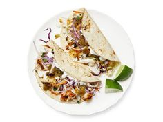 Get Grilled Fish Tacos with Lime Slaw Recipe from Food Network Slaw Recipes, Seafood Recipes, Mexican Food Recipes, Dinner Recipes, Easy Recipes, Summer Recipes, Grilled Recipes, Tilapia Recipes, Summer Ideas