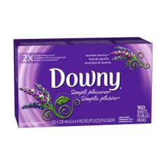 Downy Fabric Softener Sheets, Simple Pleasures Lavender Serenity, 160-count Boxes (Pack of 6) by Downy. Save 8 Off!. $76.00. Feel more serene with the soft, soothing scent of Downy Simple Pleasures Lavender Serenity. Adding Downy Simple Pleasures Sheets in the dryer helps your fabrics feel wonderfully soft and fresh with less static.