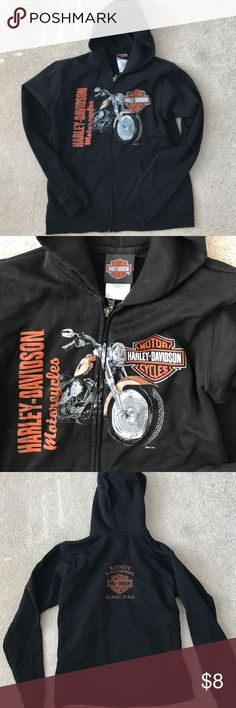 Youth Harley Davidson Zip Hoodie Boys Harley Davidson full zip hoodie, size youth medium (6-8), black with dealer logo on back but can barely be seen when hood is not worn. Like new condition Harley-Davidson Jackets & Coats