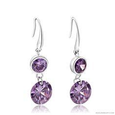 925 Silver Purple Diamonds Earrings