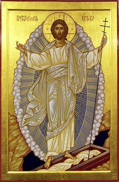 Icon of the Holy and Glorious Resurrection of Christ. Images Of Christ, Religious Images, Religious Icons, Religious Art, Christ Is Risen, Saint Esprit, Byzantine Icons, Orthodox Christianity, Catholic Art