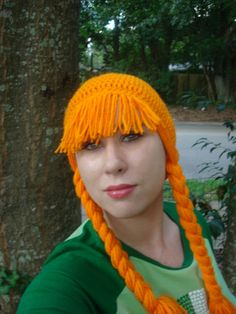 Crochet wig with braids for Halloween - good also as a mood booster for someone on chemotherapy - tutorial