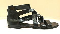 Fernando Pires Shoes Croco Black Leather Straped Cage Sandals NIB 38 Flat 8 nice