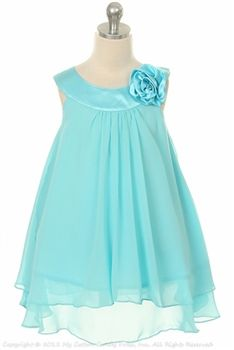 turquoise color chiffon girl babydoll - flower girl dress, Dani, Alyssa, Kristie..what do ya think of this one? On sale for $36