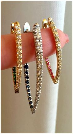 I absolutely love these angular Melissa Kaye hoop earrings - they're diamond on the front, but they have colored gemstones on the inside. Such a cool look.