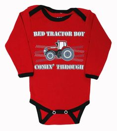 Case IH `Red Tractor Boy Coming Through` L/S Red Onesie